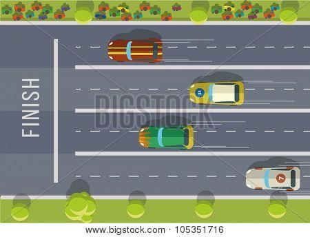 Racing cars top view. Flat vector illustration.