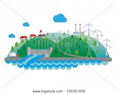 Eco concept flat illustration. Hydro power plant.