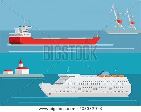 Cargo and passenger sea ships. Flat vector transportation concept.