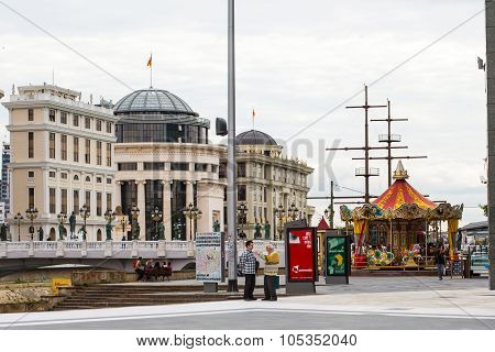 National archaeological museum, bridge, merry go round in the center of Skopje, Macedonia