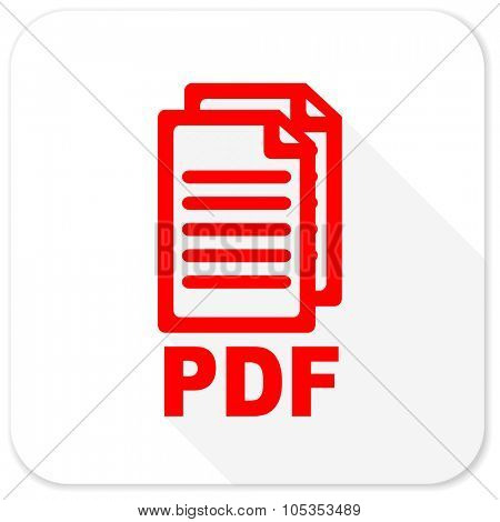 pdf red flat icon with long shadow on white background,