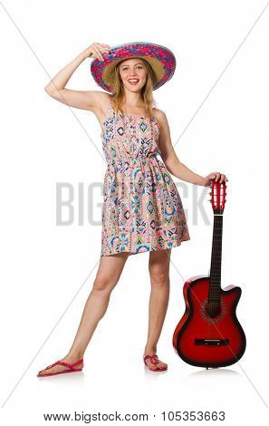 Woman in musical concept with guitar on white