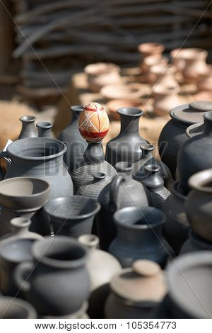 Ethnic background texture, art. Pots of clay, ceramic, outdoors