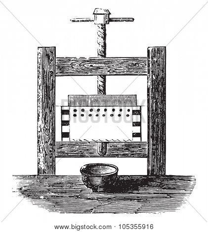 Press-fruit juice, vintage engraved illustration.