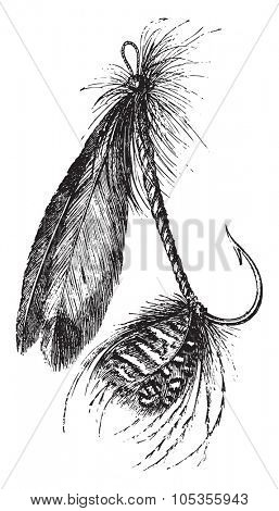 Other form of artificial fly, vintage engraved illustration. Magasin Pittoresque 1867.
