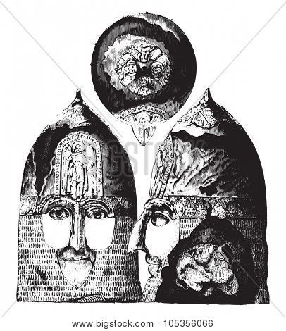 Jaroslav helmet, Grand Duke of Russia to 1238, saw top, front and side, vintage engraved illustration. Magasin Pittoresque 1867.
