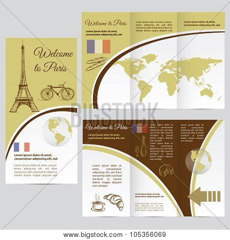 Traveler's guide or banner with a map, watercolors attractions