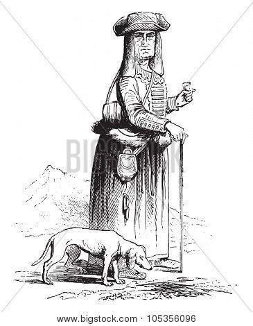 Mother Belgrade cantiniere, vintage engraved illustration. Magasin Pittoresque 1867.