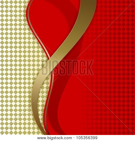 Abstract wavy red and golden vector background.