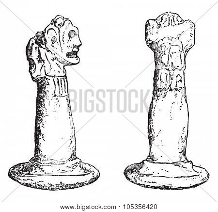 Ancient idols of the island of Cuba, vintage engraved illustration. Magasin Pittoresque 1867.