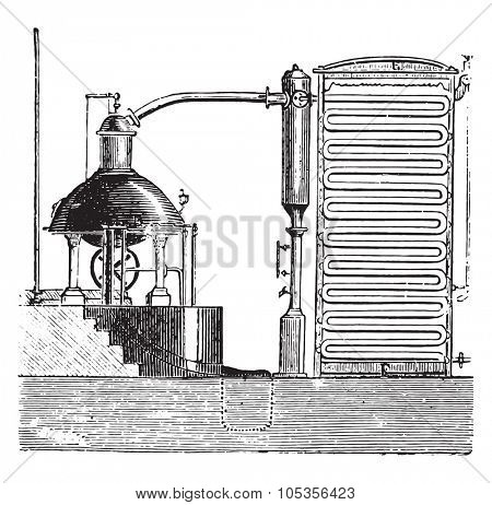 Apparatus for the concentration of beet juice, vintage engraved illustration.