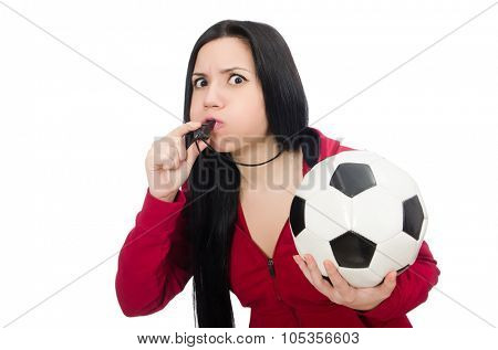 Woman with football isolated on white