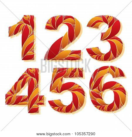 Stylish Flower-patterned Figures. Ornamental Numbers With Floral Pattern, 1, 2, 3, 4, 5, 6.