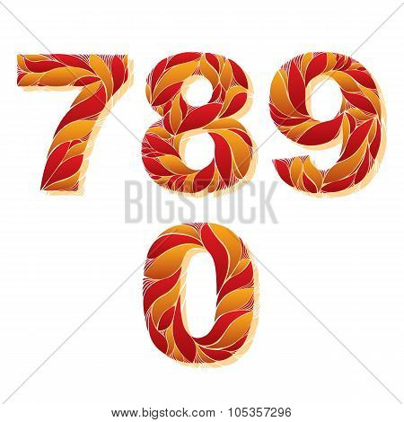 Decorative Numerals With Natural Pattern. Flowery Digits, Calligraphic Numbers. 7, 8, 9, 0