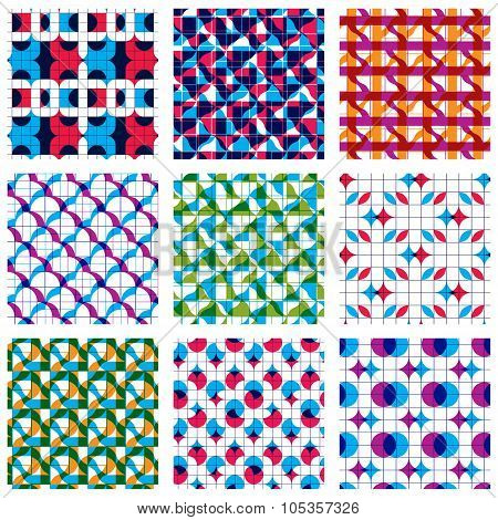 Set Of Multicolored Grate Seamless Patterns With Parallel Ribbons And Geometric Figures, Transparent