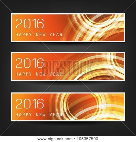 Set of Horizontal New Year Banners - 2016 Version With Orange Background and Transparent Concentric Circles