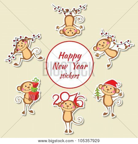New Year set of stickers with happy monkey