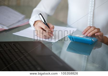 Accountant Write On Blank Paper