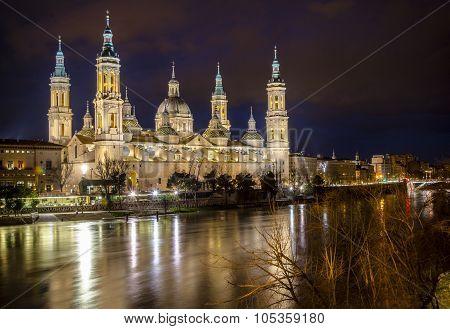 El Pilar Basilica and Ebro river in Zaragoza, Spain