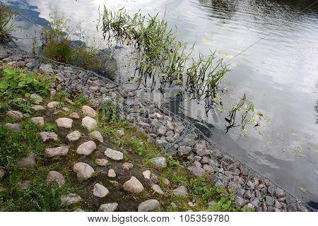 Gray Stones On The Lake Autumn
