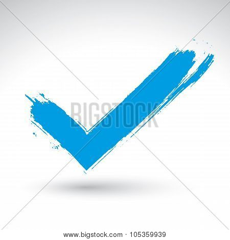 Hand Drawn Validation Icon Scanned And Vectorized, Brush Drawing Blue Checkmark, Hand-painted Naviga