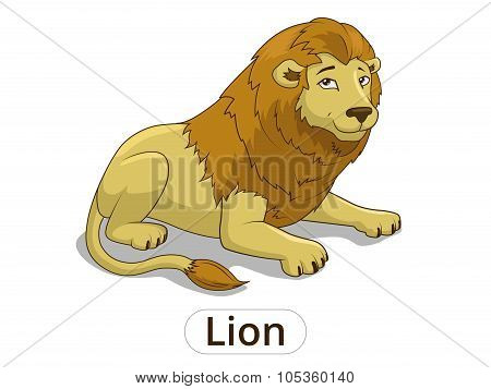 Lion african savannah cartoon illustration