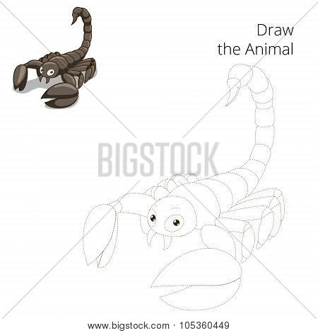 Draw animal scorpion educational game
