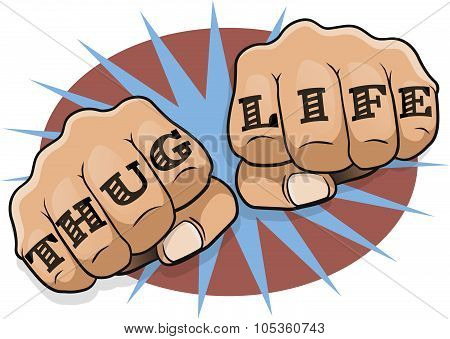 Pop Art Thug Life Tattoo Fists.