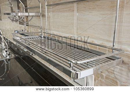 Metal Shelf Unit In A Kitchen