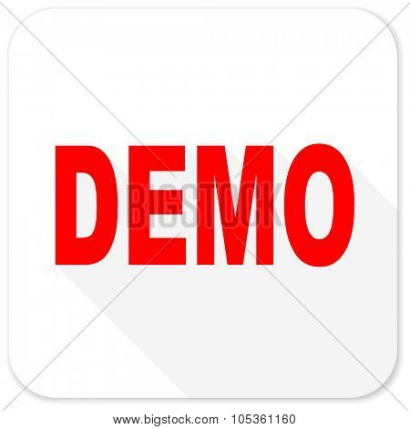 demo red flat icon with long shadow on white background