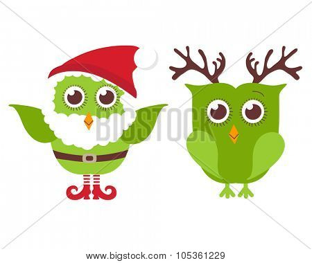 Two cute Christmas owls. One owl in Santa hat and beard and one in reindeer horns. Cute holiday illustration. Christmas card