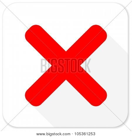 cancel red flat icon with long shadow on white background
