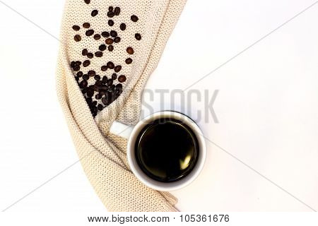 hot cup of coffee or tea with pullover