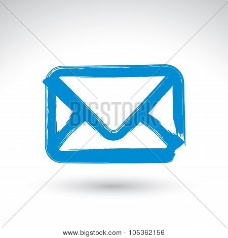 Hand Drawn Simple Vector Mail Icon, Brush Drawing Realistic Email Letter Symbol, Hand-painted Envelo