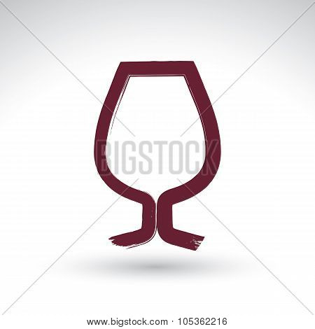 Hand-painted Simple Empty Brandy Glass Isolated On White Background, Cognac Goblet Icon, Created Wit