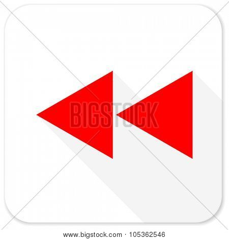 rewind red flat icon with long shadow on white background