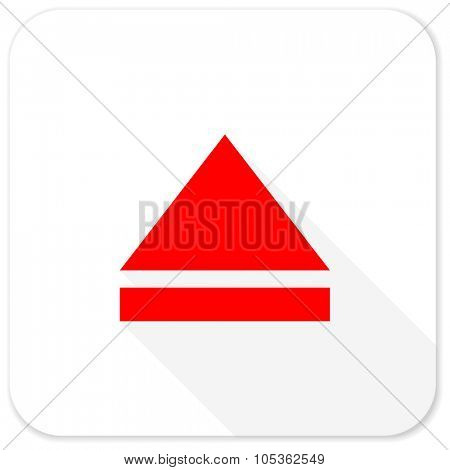 eject red flat icon with long shadow on white background