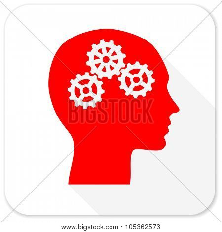 head red flat icon with long shadow on white background