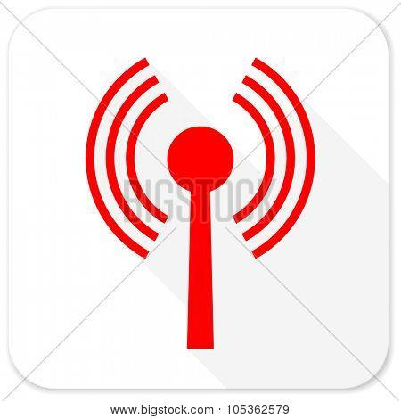 wifi red flat icon with long shadow on white background