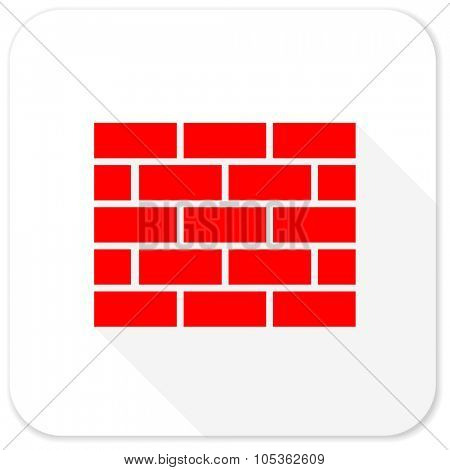 firewall red flat icon with long shadow on white background