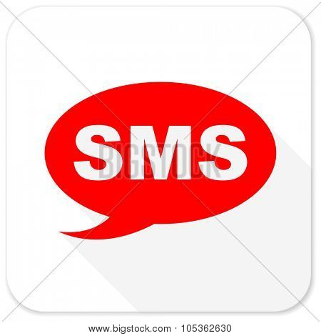 sms red flat icon with long shadow on white background