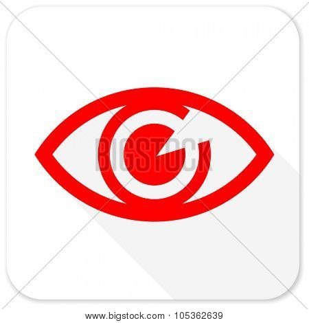 eye red flat icon with long shadow on white background