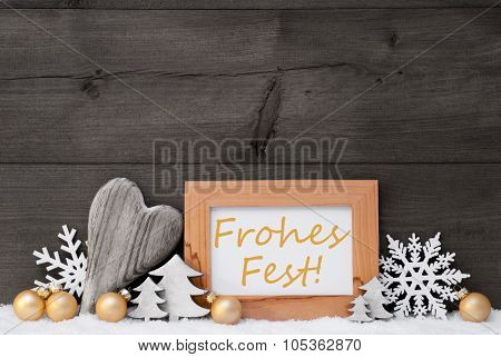 Golden Gray Decoration, Snow, Frohes Fest Mean Merry Christmas