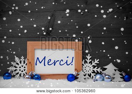 Blue Gray Christmas Decoration, Snow, Merci, Thanks, Snowflakes
