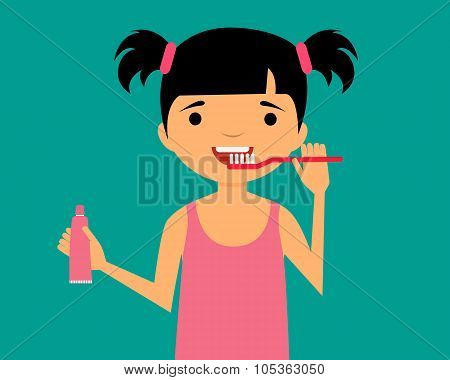 Little girl cleans teeth and holding toothpaste. Vector illustration