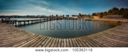 Wooden Jetty On City Beach Of Olsztyn