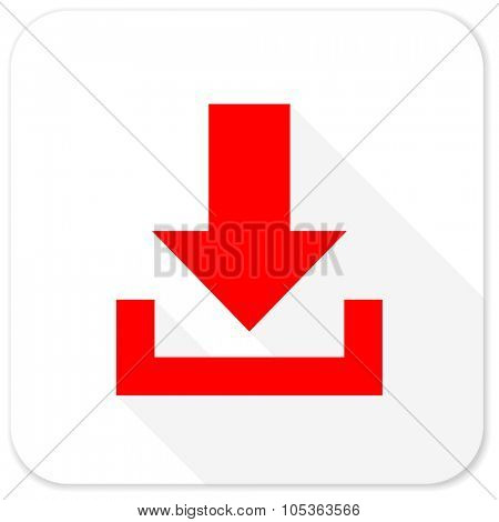download red flat icon with long shadow on white background