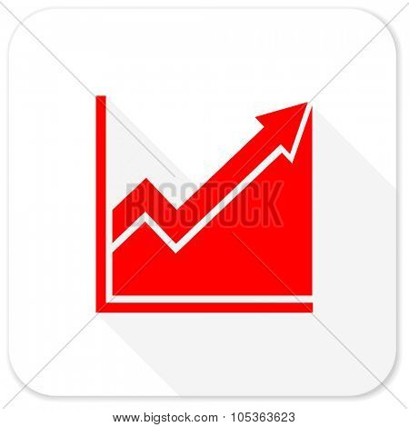 histogram red flat icon with long shadow on white background