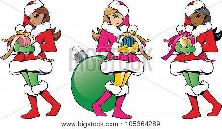 Christmas Santa cute helpers