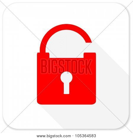 padlock red flat icon with long shadow on white background